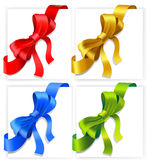 Bows of four colours. Vector illustration of bows. Red, gold, blue and green colours Royalty Free Stock Image