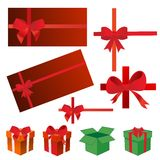 Bows, gift boxes, ribbons Stock Photography