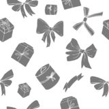 Bows and giftboxes seamless pattern vector illustration