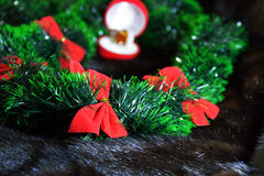 Bows in the green garlsnd in front of the open box with a ri Royalty Free Stock Photography