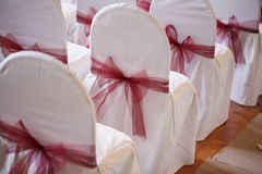 Bows made of fabric. accessory chair bow wedding registration Royalty Free Stock Photography