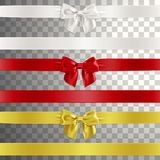 Bows Made of Satin Ribbon in White, Red and Gold Color Stock Photography