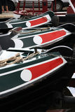 Bows of Narrowboats. A narrowboat or narrow boat is a boat of a distinctive design, made to fit the narrow canals of England and Wales Stock Images