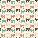 Bows pattern. Seamless vector pattern with bows on a pastel background. For cards, invitations, wedding or baby shower albums, backgrounds, arts and scrapbooks Stock Image