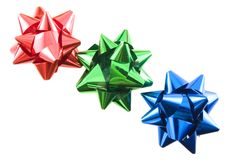 Bows RGB. Red green and blue bows in a row stock photos