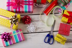 Bows, ribbons and gift boxes Royalty Free Stock Images