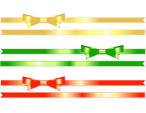 Bows and Ribbons - illustrated. Bows on ribbons plus extra ribbons to add to your holiday designs - easy to take from the pure white background.  Use vertical or Royalty Free Stock Photography