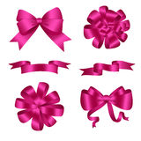 Bows and Ribbons Pink Set. Vector illustration Stock Photography