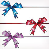 Bows on ribbons, a set Royalty Free Stock Photos