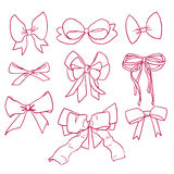 Bows and ribbons set. Collection of beautiful hand drawn contour magenta bows and ribbons in vector Stock Photography