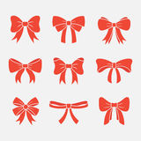 Bows with ribbons vector set Stock Photography