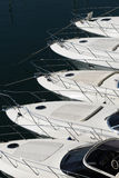 Bows of a row of luxury motorboats Royalty Free Stock Image
