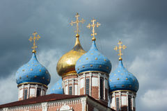 Bows of ryazan church under the thunderstorm clouds. Kremlin of Ryazan, Russia. stock photography