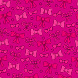 Bows seamless pattern. Bright cute pink girl background. Vector illustration stock illustration