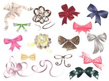 Bows set. Set of decorative multycolored bows Stock Photo