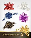 Bows set. Set of six colorful festive decorative bows Stock Photo