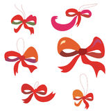 Bows set in red colors Stock Photos