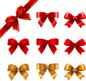 Bows. Set of red and golden gift bows Stock Images