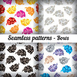 Bows. Set of seamless patterns. Royalty Free Stock Photos