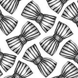 Bows of striped ribbon. Watercolor seamless pattern. Stock Photography