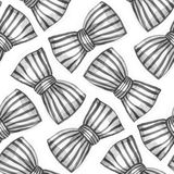 Bows of striped ribbon. Watercolor seamless pattern. Royalty Free Stock Photo