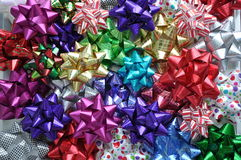 Bows. Top view of colourful bows and toppers Royalty Free Stock Photo