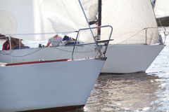 Bows of yacht on regatta Royalty Free Stock Images