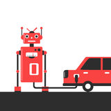 Bowser robot. Refuel car at gas station concept flat illustration Royalty Free Stock Photography
