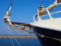 Bowsprit and gathered sail of a large sailing ship Stock Image