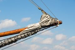 Bowsprit of a historic sailing ship. Against a blue sky stock images