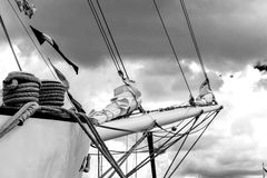 Bowsprit and rope coiled up of the sailing ship. royalty free stock photo
