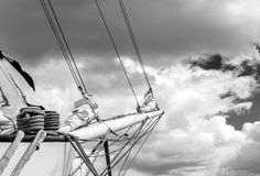 Bowsprit and rope coiled up of the sailing ship. Stock Images