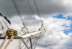 Bowsprit and rope coiled up of the sailing ship. Royalty Free Stock Image