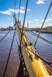 Bowsprit ropes rigging masts and stays on traditional sailing ship Stock Image