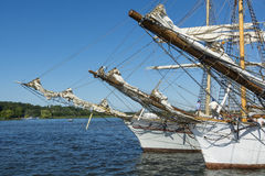 Bowsprits on three moored sailingships royalty free stock images