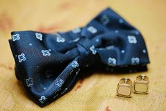 Bowtie and cuff links Stock Photography