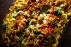 Bowtie Lasagna Casserole Stock Photos