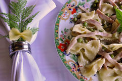 Bowtie Pasta and White Napkin Royalty Free Stock Photo