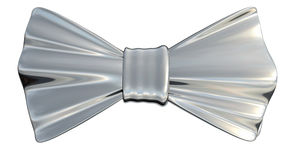 Bowtie Silver, isolated. Bowtie Silver metallic in 3D, isolated Stock Photos