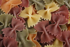 Bowtie tri-color pasta Royalty Free Stock Photography