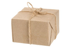 Box. A box wrapped in paper on white Royalty Free Stock Image