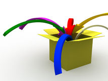 Into the box. 3d image of colorful arrows jumping into the box Stock Photo