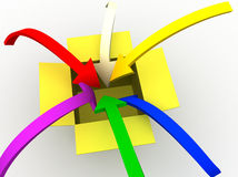 Into the box. 3d image of colorful arrows jumping into the box Royalty Free Stock Photos