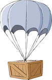 Box. Wooden box with a parachute, vector Royalty Free Stock Photography