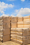 Box. Big carton boxes on sky background stock images