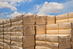 Box. Big carton boxes on sky background royalty free stock images