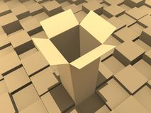 Box. Open box in the bulk (3D rendered illustration Stock Photography