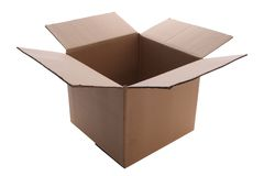 Box. An open cardboard box isolated with clipping path Stock Photography