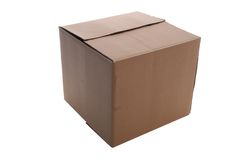 Box. An   cardboard     box      isolated    with   clipping    path Royalty Free Stock Image