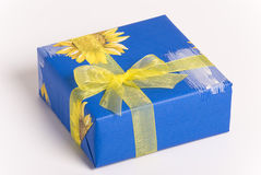 Box. Gift box with yellow ribbon isolated on white background Royalty Free Stock Images